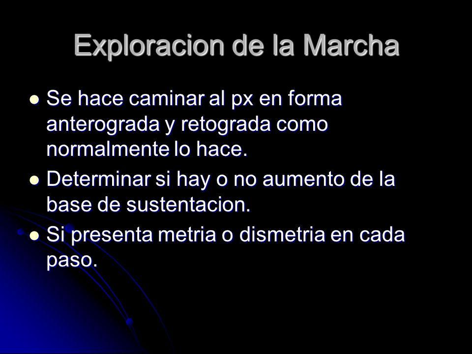 Exploracion de la Marcha Se hace caminar al px en forma anterograda y retograda como normalmente lo hace. Se hace caminar al px en forma anterograda y