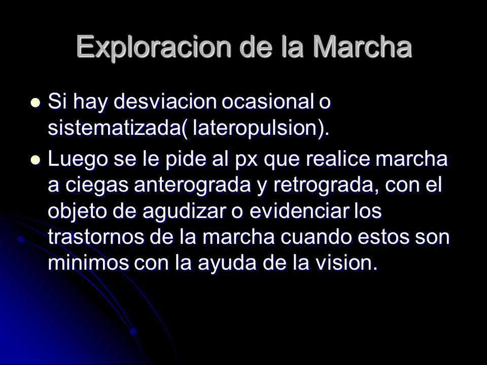 Exploracion de la Marcha Si hay desviacion ocasional o sistematizada( lateropulsion). Si hay desviacion ocasional o sistematizada( lateropulsion). Lue