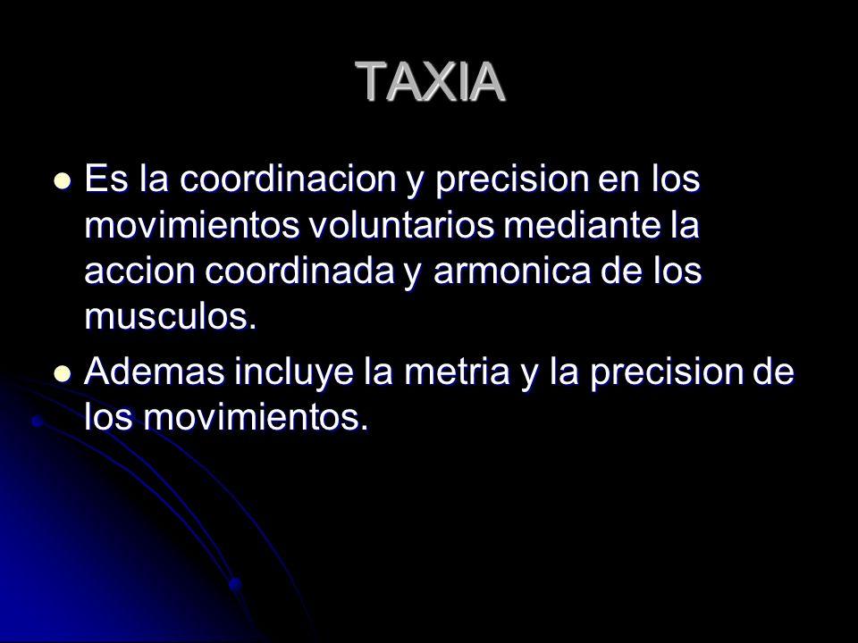 TAXIA Es la coordinacion y precision en los movimientos voluntarios mediante la accion coordinada y armonica de los musculos. Es la coordinacion y pre