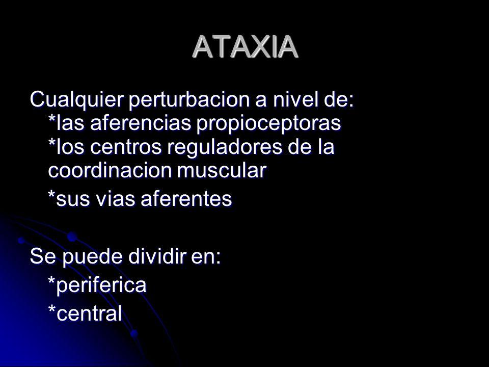ATAXIA Cualquier perturbacion a nivel de: *las aferencias propioceptoras *los centros reguladores de la coordinacion muscular *sus vias aferentes *sus