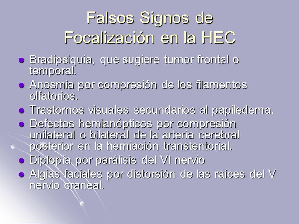 Falsos Signos de Focalización en la HEC Bradipsiquia, que sugiere tumor frontal o temporal. Bradipsiquia, que sugiere tumor frontal o temporal. Anosmi