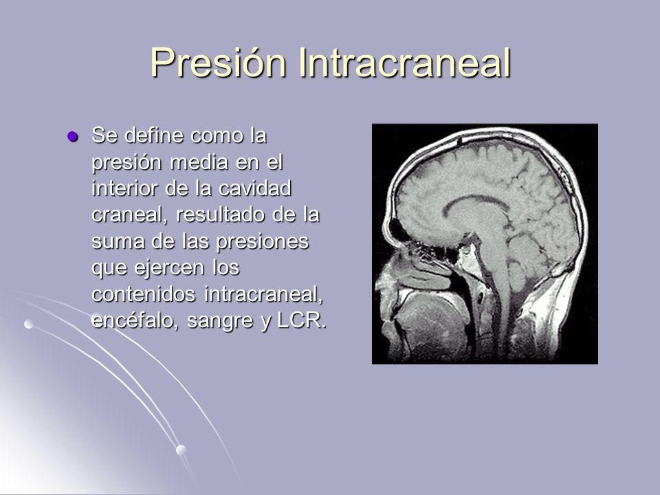 Hipertensión Intracraneal La hipertensión intracraneal es la elevación sostenida de la PIC arriba de los 20 mm Hg, el valor normal es de 5-15mmHg; es originada por le descompensación del equilibrio de los volúmenes existente dentro del cráneo (VSC + LCR + VPC), ocasionando una serie de daños cerebrales por las alteraciones metabólicas y circulatorias, que se expresan por un grupo de manifestaciones clínicas.