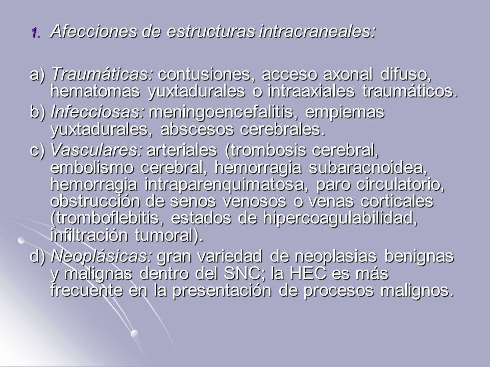 1. Afecciones de estructuras intracraneales: a) Traumáticas: contusiones, acceso axonal difuso, hematomas yuxtadurales o intraaxiales traumáticos. b)