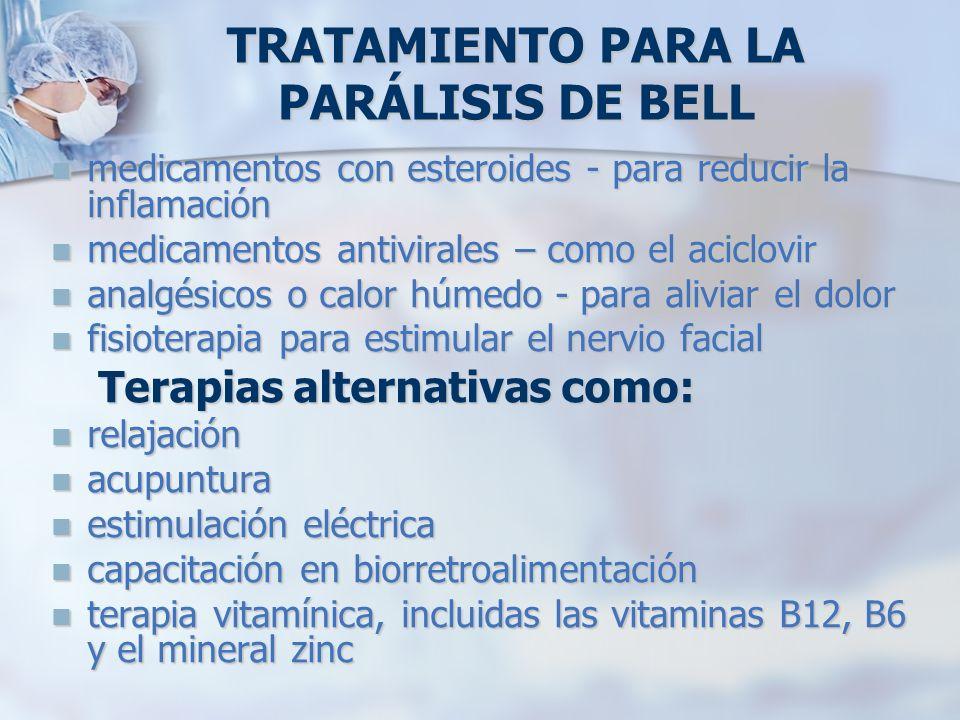 TRATAMIENTO PARA LA PARÁLISIS DE BELL medicamentos con esteroides - para reducir la inflamación medicamentos con esteroides - para reducir la inflamac