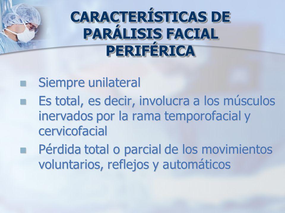 Siempre unilateral Siempre unilateral Es total, es decir, involucra a los músculos inervados por la rama temporofacial y cervicofacial Es total, es de