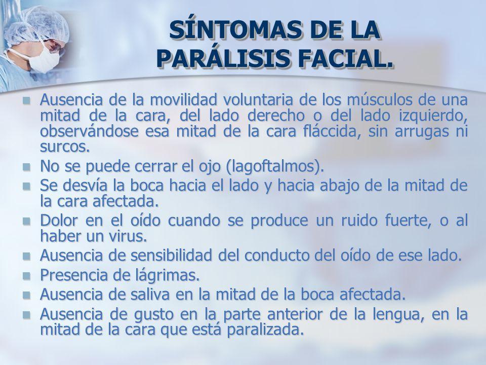 SÍNTOMAS DE LA PARÁLISIS FACIAL. Ausencia de la movilidad voluntaria de los músculos de una mitad de la cara, del lado derecho o del lado izquierdo, o