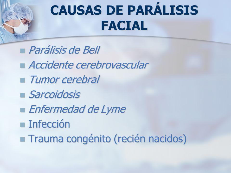 CAUSAS DE PARÁLISIS FACIAL Parálisis de Bell Parálisis de Bell Accidente cerebrovascular Accidente cerebrovascular Tumor cerebral Tumor cerebral Sarco
