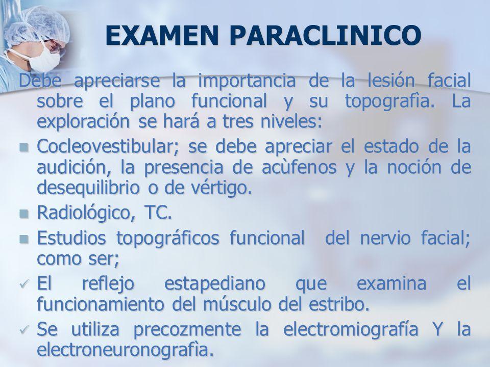 EXAMEN PARACLINICO Debe apreciarse la importancia de la lesión facial sobre el plano funcional y su topografìa. La exploración se hará a tres niveles: