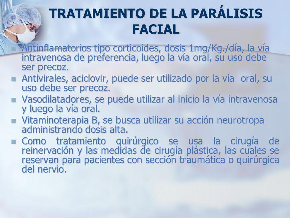 TRATAMIENTO DE LA PARÁLISIS FACIAL Antinflamatorios tipo corticoides, dosis 1mg/Kg./día, la vía intravenosa de preferencia, luego la vía oral, su uso
