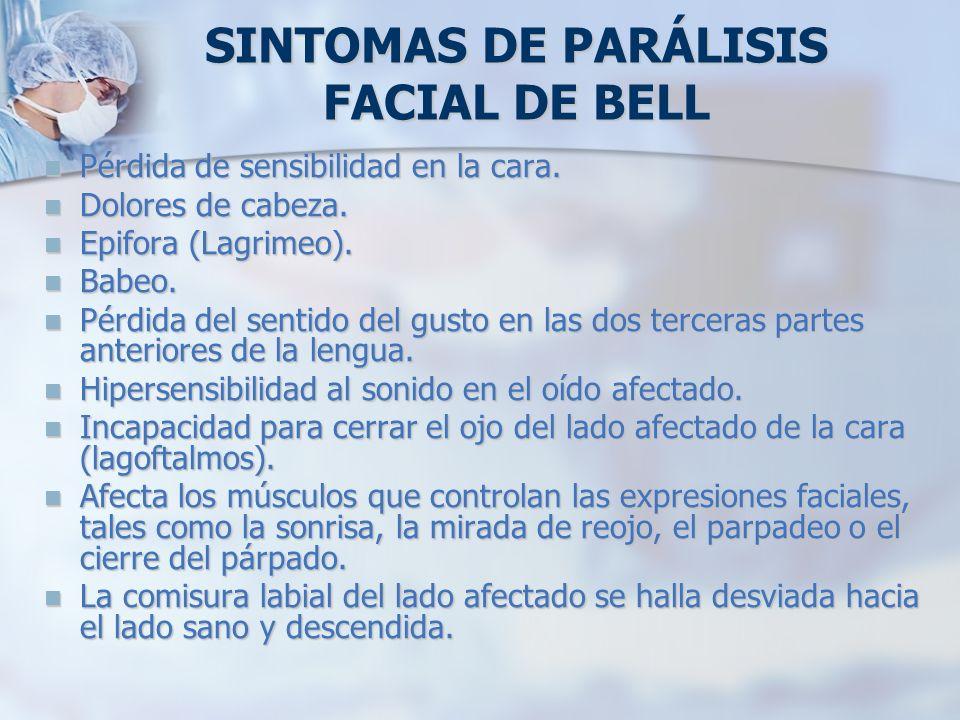 SINTOMAS DE PARÁLISIS FACIAL DE BELL Pérdida de sensibilidad en la cara. Pérdida de sensibilidad en la cara. Dolores de cabeza. Dolores de cabeza. Epi