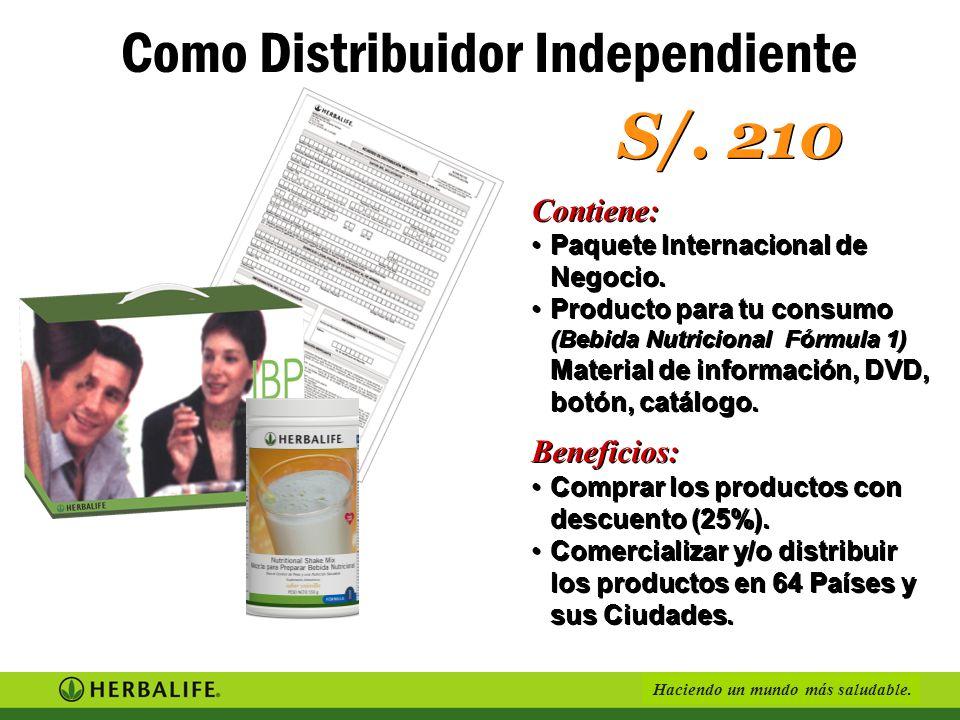 Haciendo un mundo más saludable. Como Constructor del éxito Inversión S/. 3, 470 Ganancia S/. 1,900 Contiene: Paquete Internacional de Negocio.Paquete