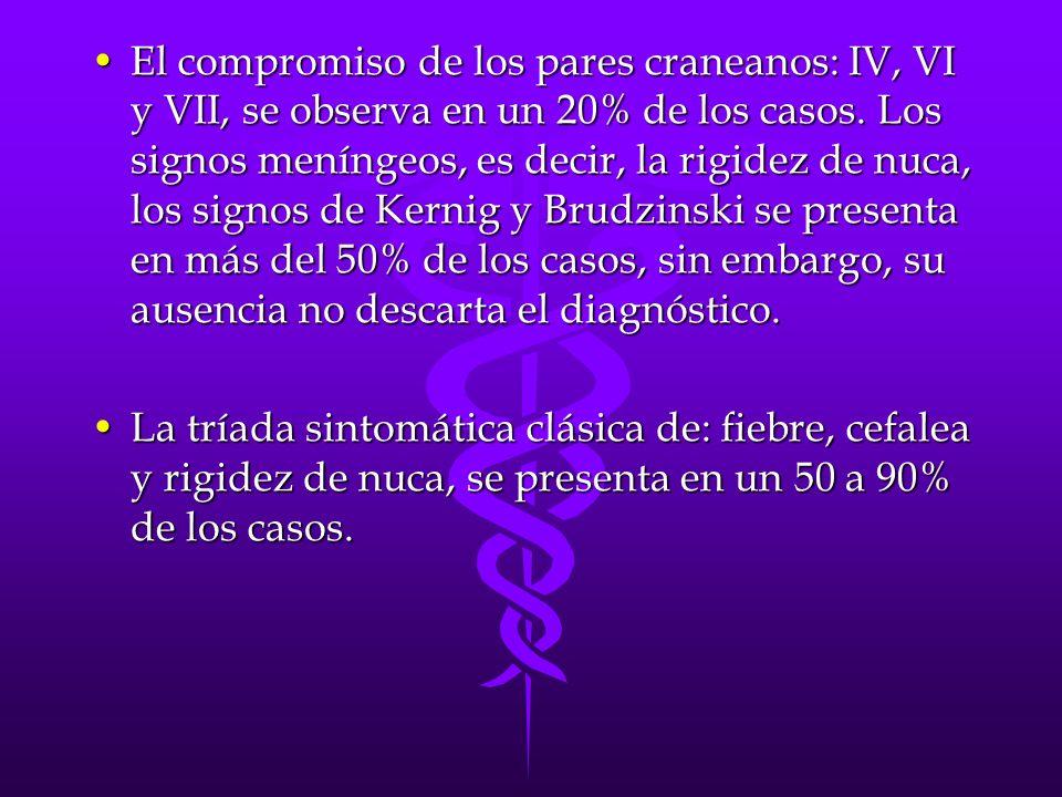 El compromiso de los pares craneanos: IV, VI y VII, se observa en un 20% de los casos.