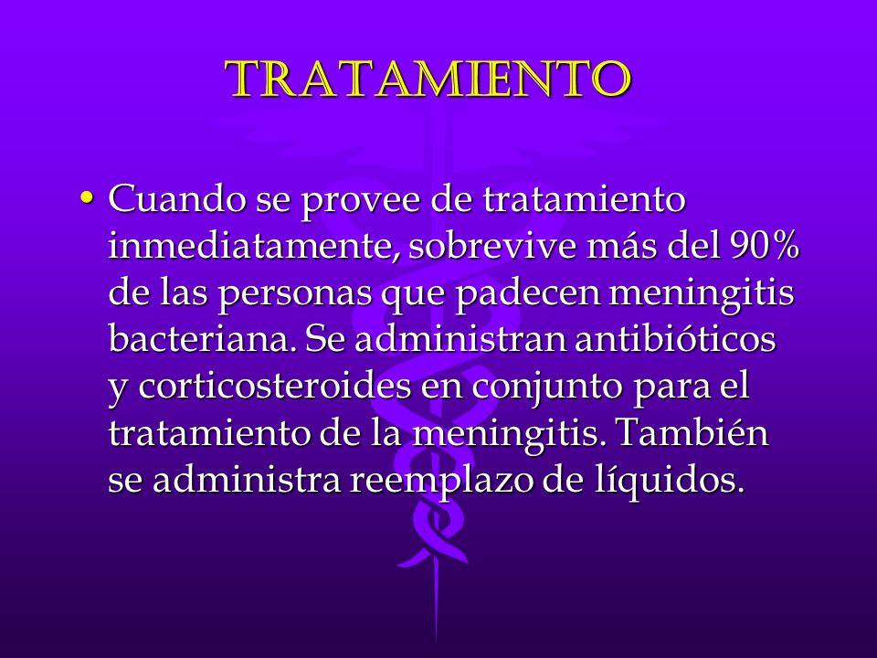 Tratamiento Cuando se provee de tratamiento inmediatamente, sobrevive más del 90% de las personas que padecen meningitis bacteriana.