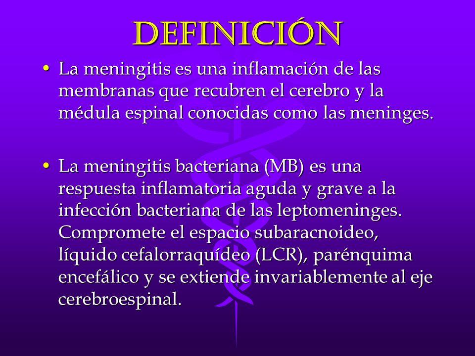 Definición La meningitis es una inflamación de las membranas que recubren el cerebro y la médula espinal conocidas como las meninges.La meningitis es una inflamación de las membranas que recubren el cerebro y la médula espinal conocidas como las meninges.