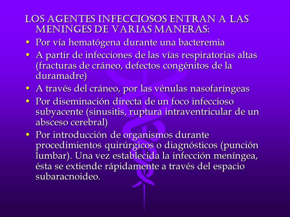 Los agentes infecciosos entran a las meninges de varias maneras: Por vía hematógena durante una bacteremiaPor vía hematógena durante una bacteremia A partir de infecciones de las vías respiratorias altas (fracturas de cráneo, defectos congénitos de la duramadre)A partir de infecciones de las vías respiratorias altas (fracturas de cráneo, defectos congénitos de la duramadre) A través del cráneo, por las vénulas nasofaríngeasA través del cráneo, por las vénulas nasofaríngeas Por diseminación directa de un foco infeccioso subyacente (sinusitis, ruptura intraventricular de un absceso cerebral)Por diseminación directa de un foco infeccioso subyacente (sinusitis, ruptura intraventricular de un absceso cerebral) Por introducción de organismos durante procedimientos quirúrgicos o diagnósticos (punción lumbar).