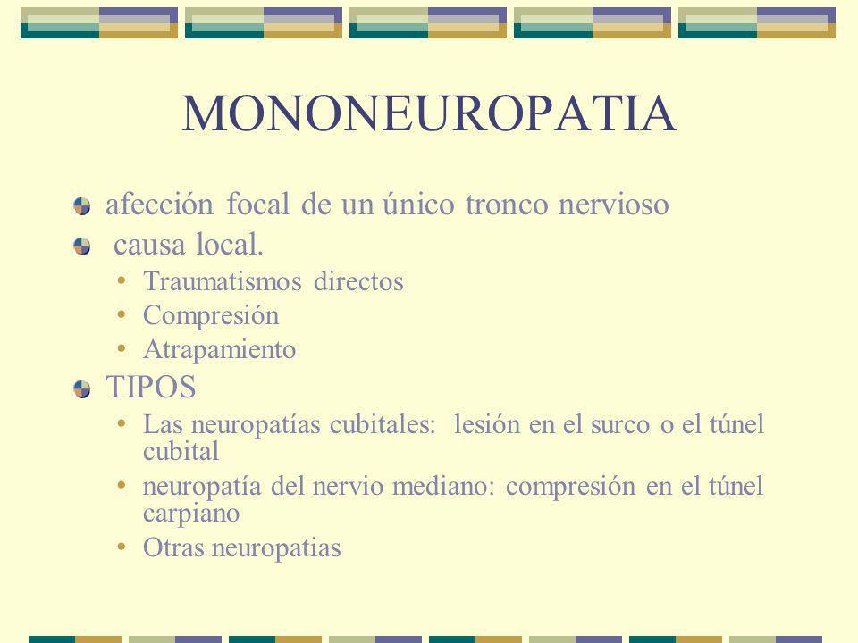 POLINEUROPATIA Asociada con enfermedades generalizadas Diabetes Uremia Deficit vitaminico, deficit vit b 12 Porfiria Hipotiroidismo Carcinoma VIH,etc