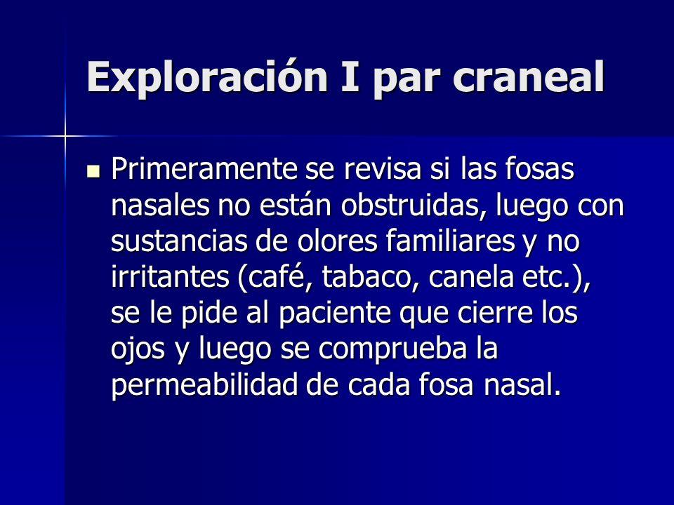 Exploración I par craneal Primeramente se revisa si las fosas nasales no están obstruidas, luego con sustancias de olores familiares y no irritantes (