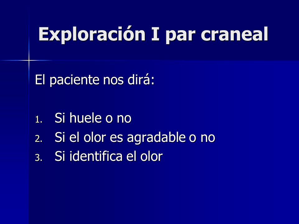 Exploración I par craneal El paciente nos dirá: 1. Si huele o no 2. Si el olor es agradable o no 3. Si identifica el olor