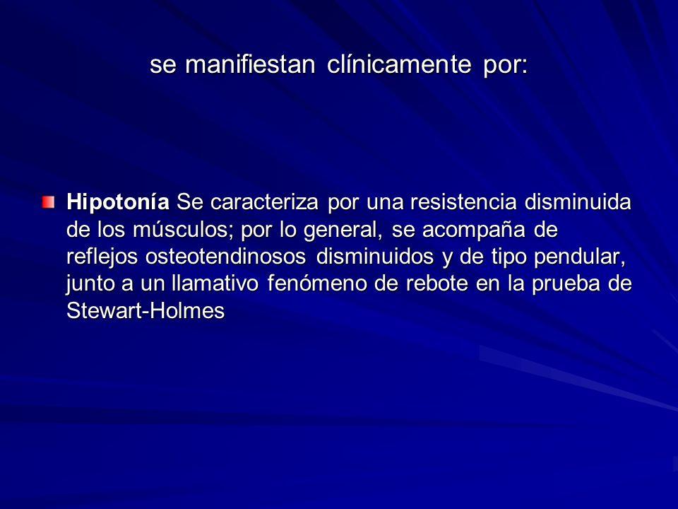 se manifiestan clínicamente por: Hipotonía Se caracteriza por una resistencia disminuida de los músculos; por lo general, se acompaña de reflejos oste