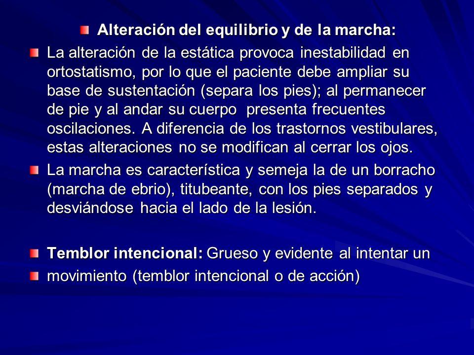 Alteración del equilibrio y de la marcha: La alteración de la estática provoca inestabilidad en ortostatismo, por lo que el paciente debe ampliar su b
