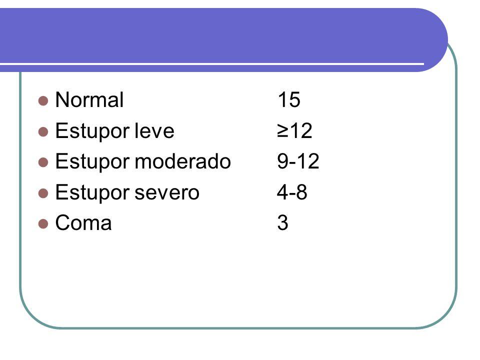 Normal15 Estupor leve12 Estupor moderado 9-12 Estupor severo4-8 Coma3