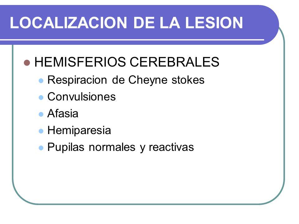 LOCALIZACION DE LA LESION HEMISFERIOS CEREBRALES Respiracion de Cheyne stokes Convulsiones Afasia Hemiparesia Pupilas normales y reactivas