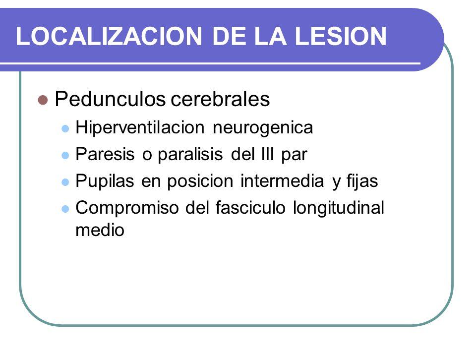 LOCALIZACION DE LA LESION Pedunculos cerebrales Hiperventilacion neurogenica Paresis o paralisis del III par Pupilas en posicion intermedia y fijas Co