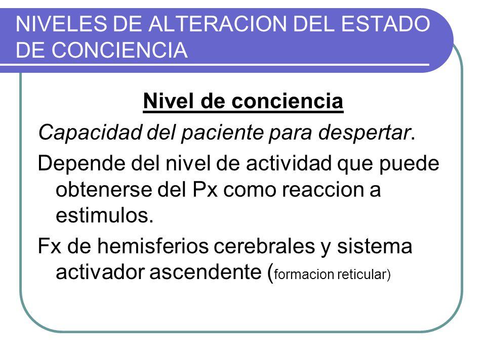 NIVELES DE ALTERACION DEL ESTADO DE CONCIENCIA Nivel de conciencia Capacidad del paciente para despertar. Depende del nivel de actividad que puede obt