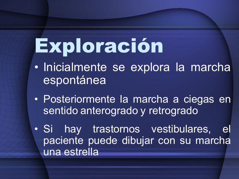 Exploración Inicialmente se explora la marcha espontánea Posteriormente la marcha a ciegas en sentido anterogrado y retrogrado Si hay trastornos vesti