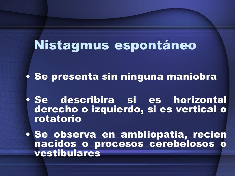 Nistagmus espontáneo Se presenta sin ninguna maniobra Se describira si es horizontal derecho o izquierdo, si es vertical o rotatorio Se observa en amb