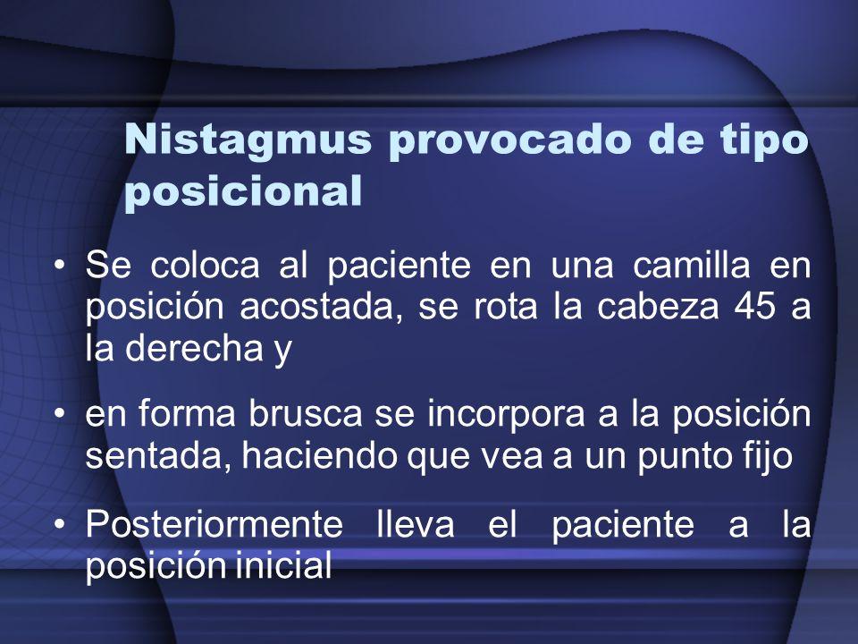 Nistagmus provocado de tipo posicional Se coloca al paciente en una camilla en posición acostada, se rota la cabeza 45 a la derecha y en forma brusca