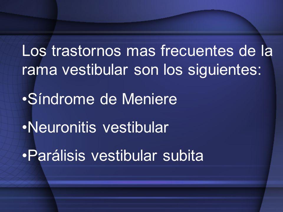 Los trastornos mas frecuentes de la rama vestibular son los siguientes: Síndrome de Meniere Neuronitis vestibular Parálisis vestibular subita
