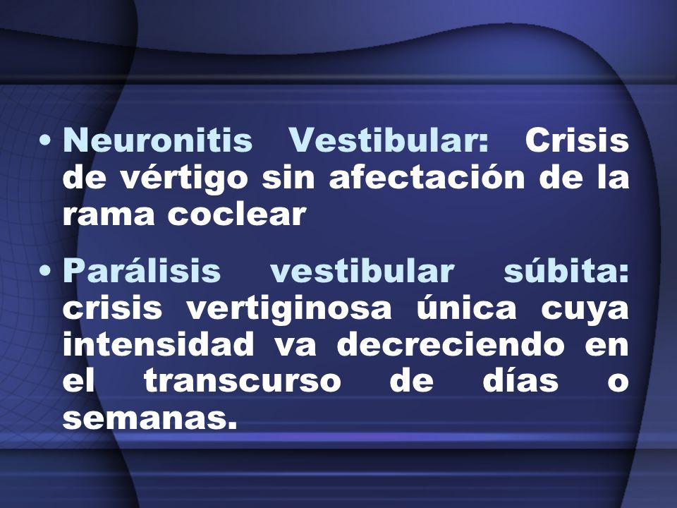 Neuronitis Vestibular: Crisis de vértigo sin afectación de la rama coclear Parálisis vestibular súbita: crisis vertiginosa única cuya intensidad va de