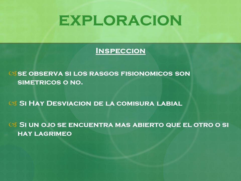 EXPLORACION Inspeccion se observa si los rasgos fisionomicos son simetricos o no. Si Hay Desviacion de la comisura labial Si un ojo se encuentra mas a