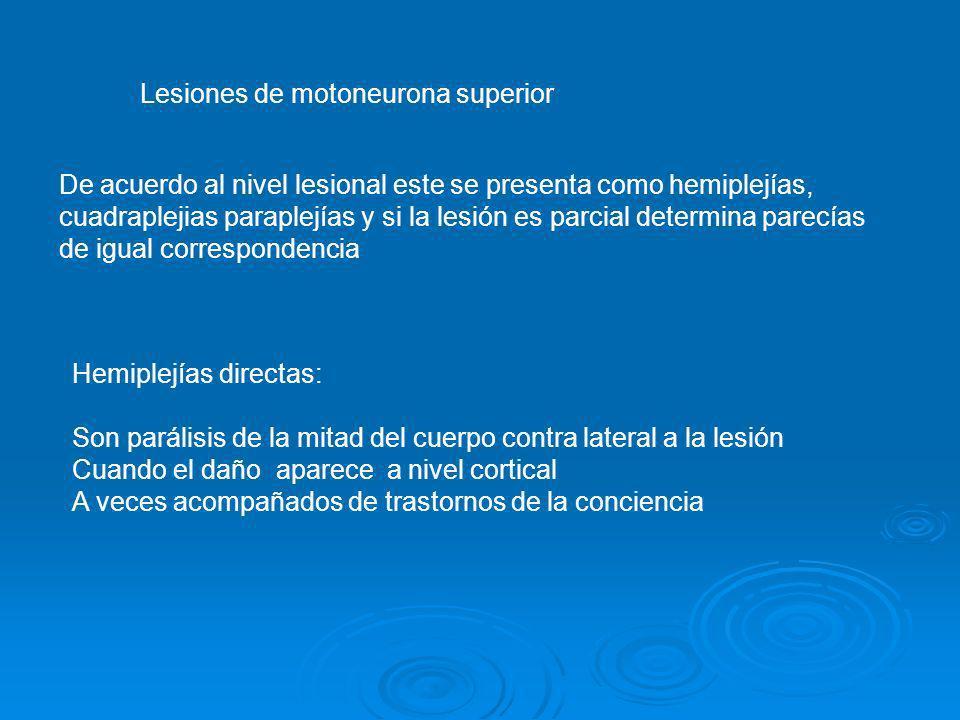 Lesiones de motoneurona superior De acuerdo al nivel lesional este se presenta como hemiplejías, cuadraplejias paraplejías y si la lesión es parcial d
