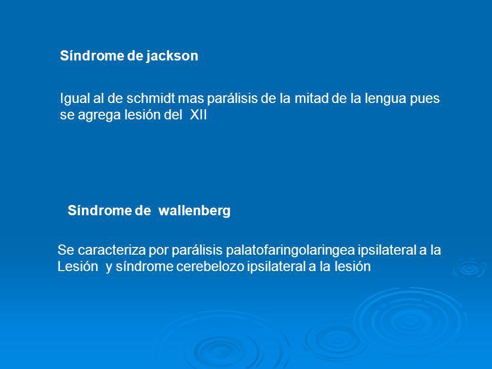 Síndrome de jackson Igual al de schmidt mas parálisis de la mitad de la lengua pues se agrega lesión del XII Síndrome de wallenberg Se caracteriza por