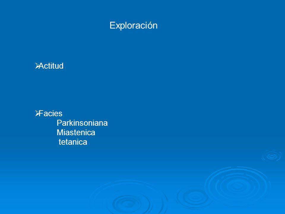 Exploración Actitud Facies Parkinsoniana Miastenica tetanica