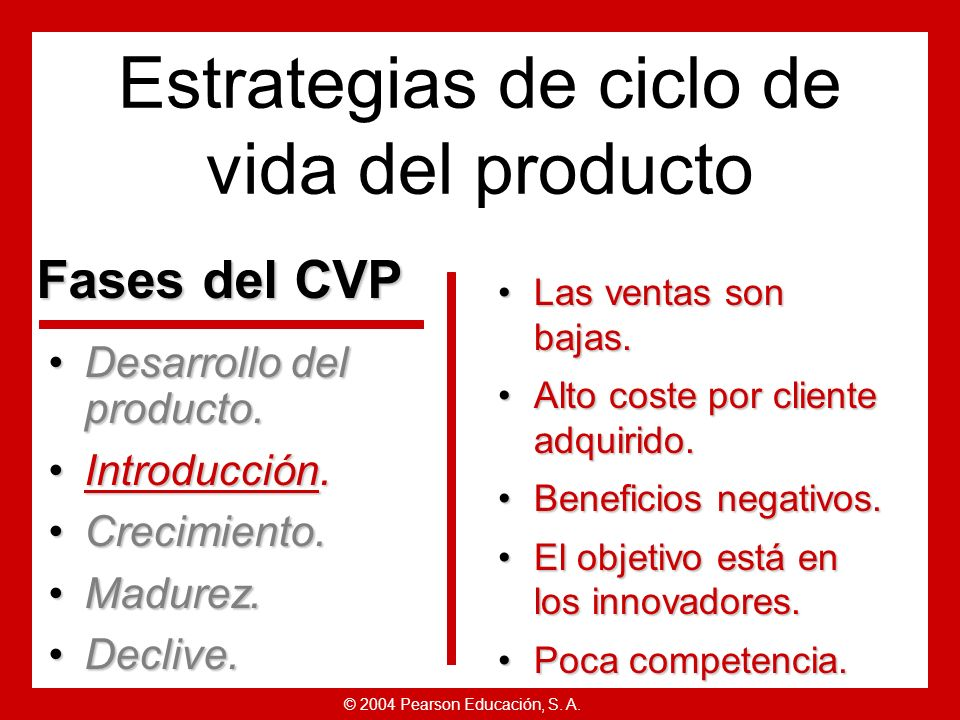 © 2004 Pearson Educación, S. A. Estrategias de ciclo de vida del producto Desarrollo del producto.Desarrollo del producto. Introducción.Introducción.