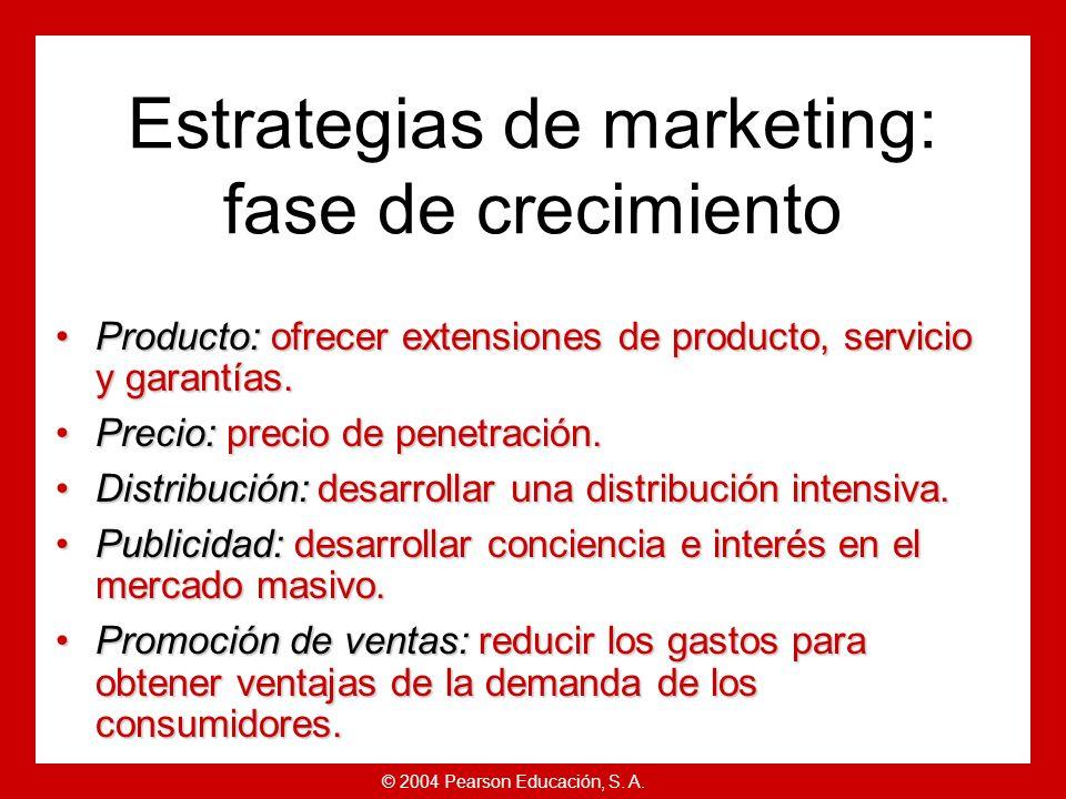 © 2004 Pearson Educación, S. A. Estrategias de ciclo de vida del producto Las ventas aumentan rápidamente.Las ventas aumentan rápidamente. Coste medio
