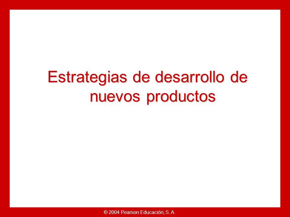 © 2004 Pearson Educación, S. A. Objetivos Explicar cómo las empresas encuentran y desarrollan ideas para nuevos productos.Explicar cómo las empresas e