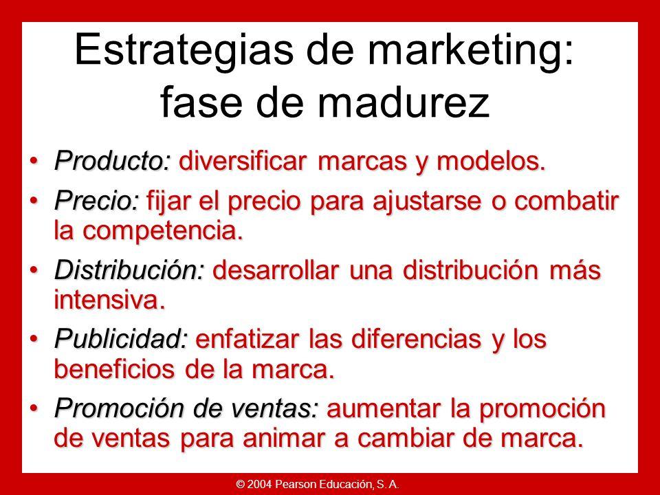 © 2004 Pearson Educación, S. A. Estrategias de ciclo de vida del producto Pico de ventas.Pico de ventas. Bajo coste por consumidor.Bajo coste por cons