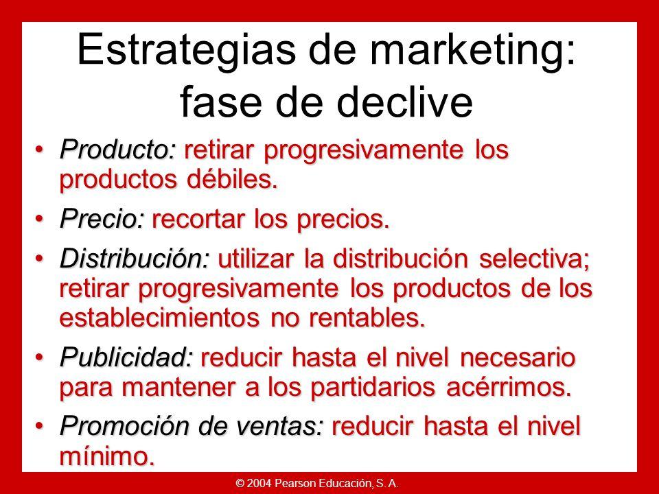 © 2004 Pearson Educación, S. A. Estrategias de ciclo de vida del producto Ventas en declive.Ventas en declive. Bajo coste por consumidor.Bajo coste po