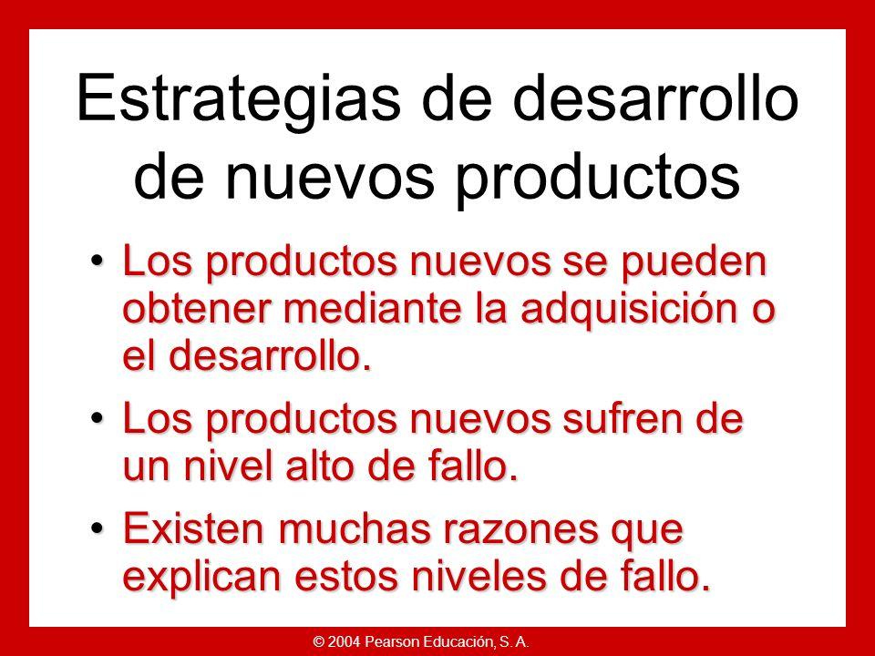 © 2004 Pearson Educación, S. A. Definición Productos nuevos:Productos nuevos: Desarrollo de productos originales, mejoras y modificaciones de producto