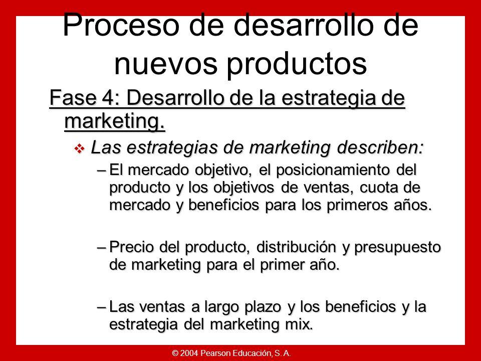 © 2004 Pearson Educación, S. A. Fase 3: Desarrollo del concepto y prueba. Los conceptos de producto proporcionan versiones detalladas de las ideas par