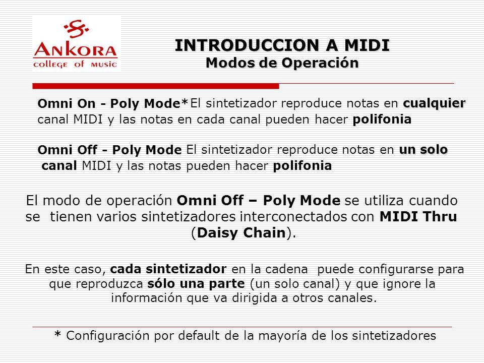 INTRODUCCION A MIDI Modos de Operación Omni On - Poly Mode* cualquier El sintetizador reproduce notas en cualquier canal MIDI y las notas en cada cana