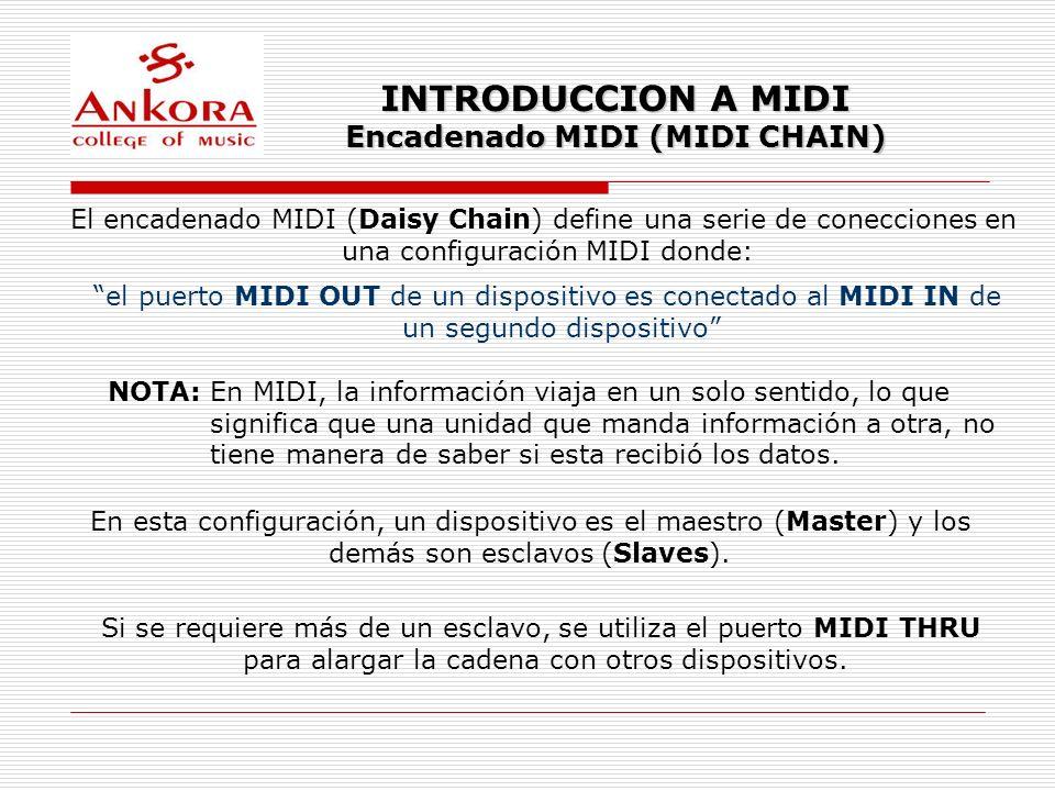 INTRODUCCION A MIDI Encadenado MIDI (MIDI CHAIN) El encadenado MIDI (Daisy Chain) define una serie de conecciones en una configuración MIDI donde: el