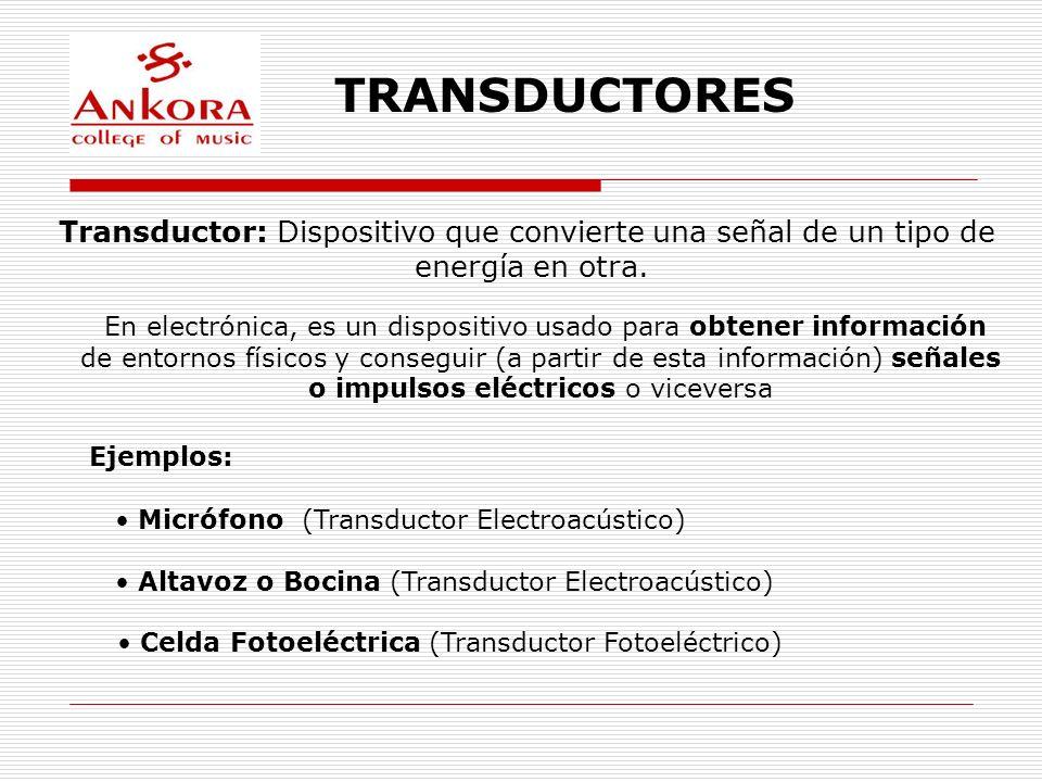 TRANSDUCTORES Transductor: Dispositivo que convierte una señal de un tipo de energía en otra. En electrónica, es un dispositivo usado para obtener inf