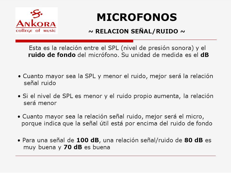 MICROFONOS ~ RELACION SEÑAL/RUIDO ~ Esta es la relación entre el SPL (nivel de presión sonora) y el ruido de fondo del micrófono. Su unidad de medida