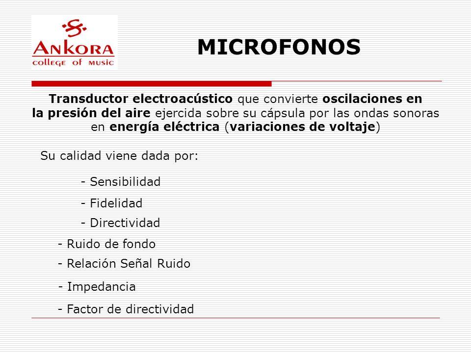 MICROFONOS Transductor electroacústico que convierte oscilaciones en la presión del aire ejercida sobre su cápsula por las ondas sonoras en energía el