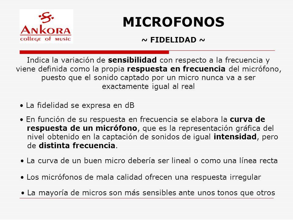 MICROFONOS ~ FIDELIDAD ~ Indica la variación de sensibilidad con respecto a la frecuencia y viene definida como la propia respuesta en frecuencia del